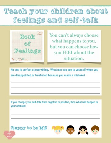 teach your children about feeling and self-talk, book of feelings free printable for children