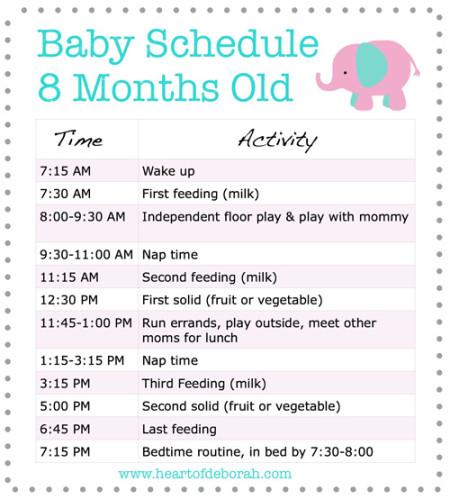 Sample Baby sleep schedule 8 months
