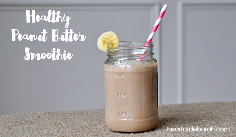 A recipe for a healthy version of a chocolate peanut butter smoothie.