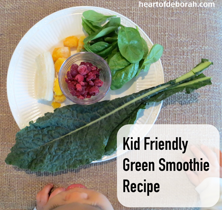 Kid friendly green smoothie recipe. Heart of Deborah