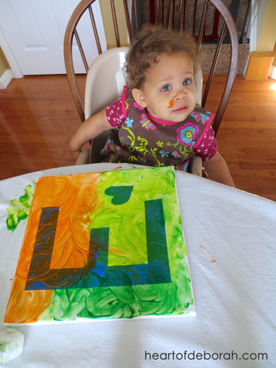 Looking for toddler finger paint ideas? Try this fun toddler finger painting craft! Heart of Deborah