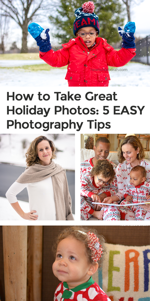 You can take good holiday photos! It doesn't have to be stressful. Here are 5 photography tips to use for your family photos this holiday season!