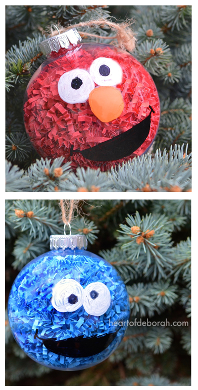 diy sesame street inspired christmas ornaments this easy kids craft makes elmo and cookie monster - Kids Christmas Ornaments
