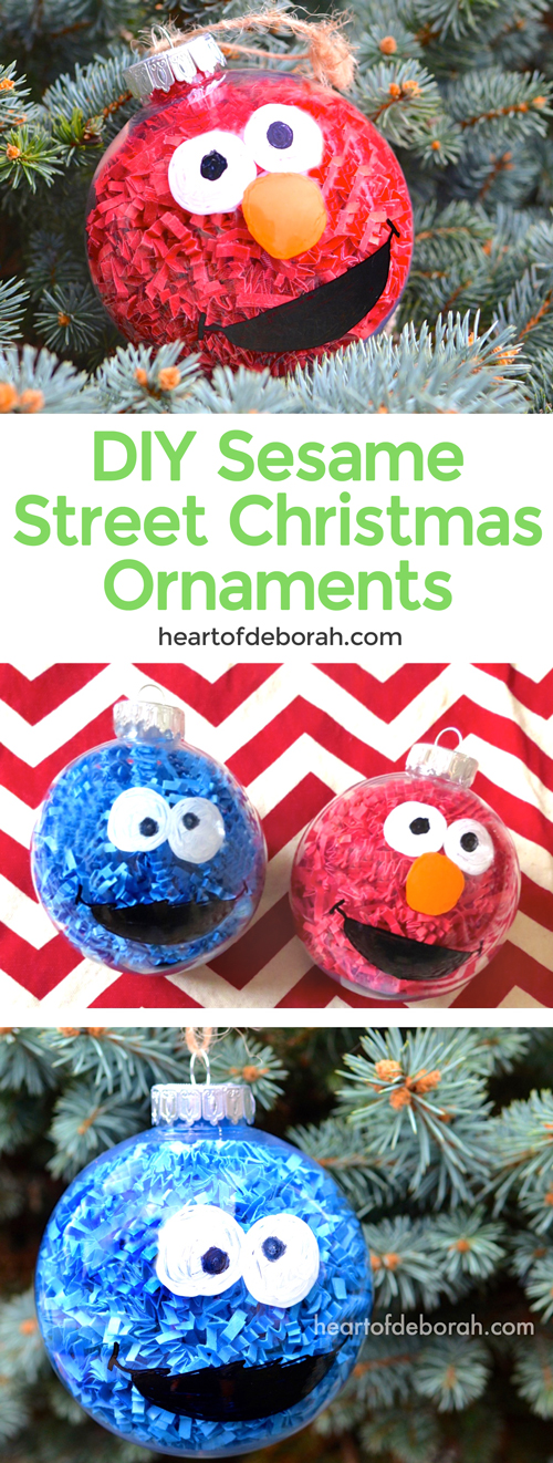 DIY Sesame Street Inspired Christmas Ornaments. This easy kid's craft makes Elmo and Cookie Monster Christmas balls to hang on your tree or give as kid made gifts!
