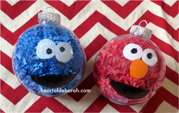 DIY Sesame Street (Elmo & Cookie Monster) Kid Made Ornaments Inspired By Your Favorite Children's Book