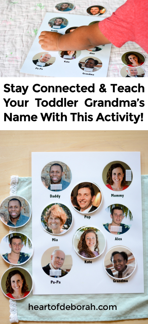 When your kids live far away from family it can be difficult to stay connected. Our toddler loved this name recognition activity to learn the names and faces of her grandparents who lived far away!