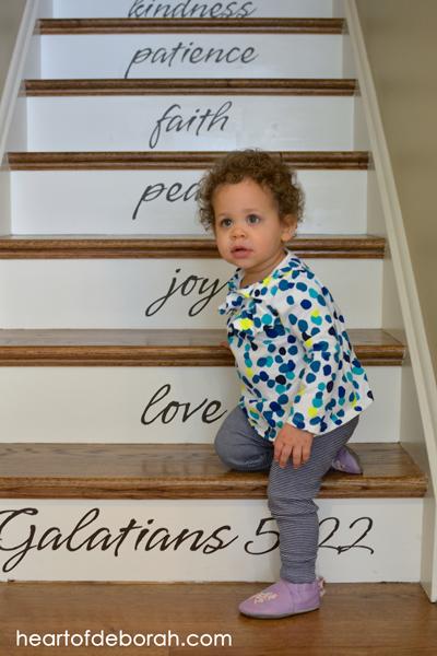 Fruit of the Spirit steps! I love these vinyl words depicting Galatians 5:22.