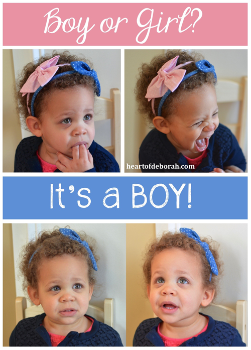 Gender Reveal Ideas: Use blue and pick headbands to reveal if you are having a boy or girl. Heart of Deborah.