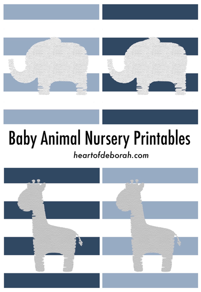 Free baby animal nursery printable. Baby elephant and baby giraffe artwork for your nursery!