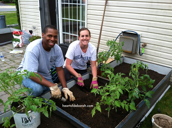 Gardening at our first house. Heart of Deborah