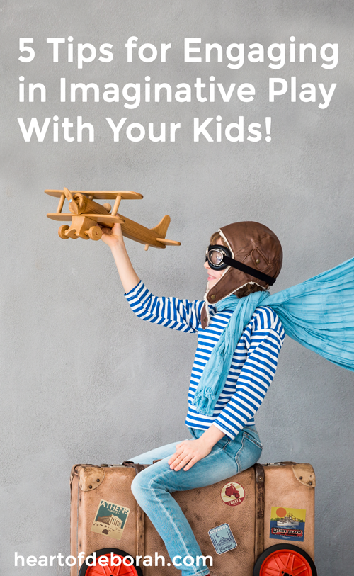 Imaginative play is great for child development! But what do you when it doesn't come naturally to you as a parent? Check out these 5 secrets to encouraging pretend play in your kids. Plus dramatic play center ideas.