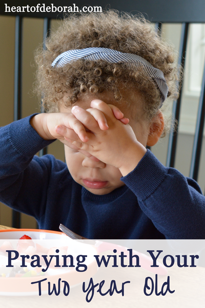 Praying with a two year old is easy and fun. It's a great practice to start when your kids are young. You will be amazed at what they come up with.