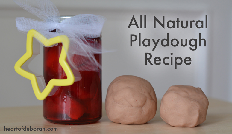 "Looking for a last minute gift idea? Make this all natural playdough recipe with ingredients from your pantry. Free ""Made With Love"" printable included!"