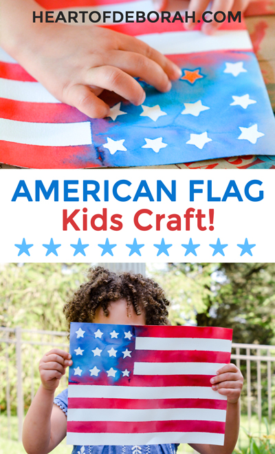 How adorable is thisAmerican flag kids craft! So easy to make and kids will love making this watercolor flag. Such a creative way to make a flag! Perfectfor memorial day, the 4th of July or to cheer on Team USA at the olympics.