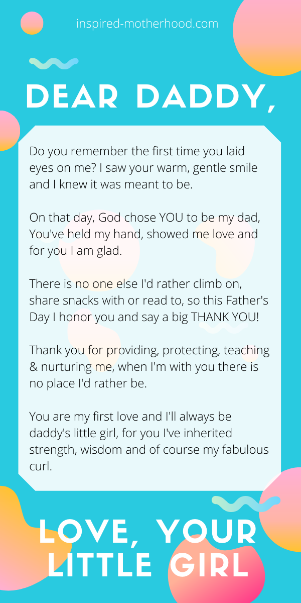 What a cute Father's Day gift idea! Help your daughter write a cute dear daddy poem. A perfect gift from a daughter to her father for Father's Day!