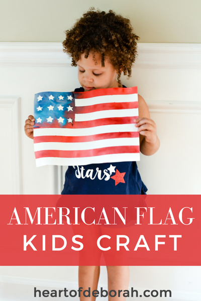 Fun American Flag Kids Craft! Make this beautiful watercolor with your children for memorial day, the 4th of July or to cheer on Team USA at the olympics. This DIY watercolor is beautiful and easy to make with kids.