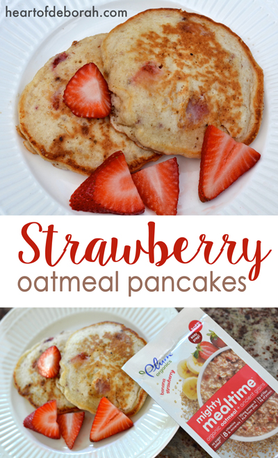 This strawberry oatmeal pancakes recipe is delicious! We had so much fun cooking this with our kids in the kitchen. Made with the best ingredients!