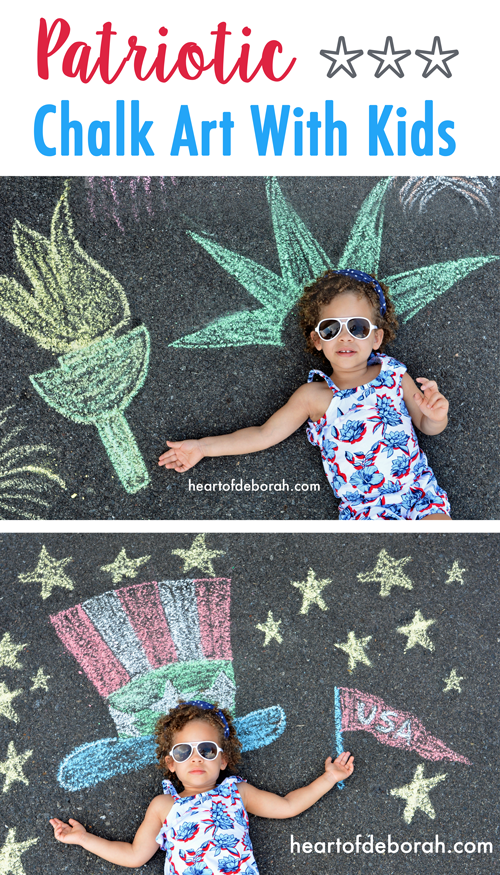 How adorable is this patriotic chalk art for kids!? Celebrate the red, white and blue with these fun kid's activities. #memorialday #4thofjuly #patriotic #kidsactivities #chalkart