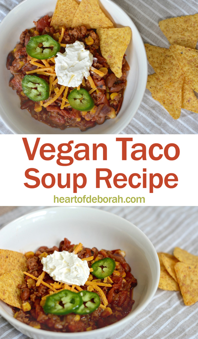 Looking for a savory and flavorful vegan taco soup recipe? This healthy chili is the perfect football season recipe. Your whole family will love it!