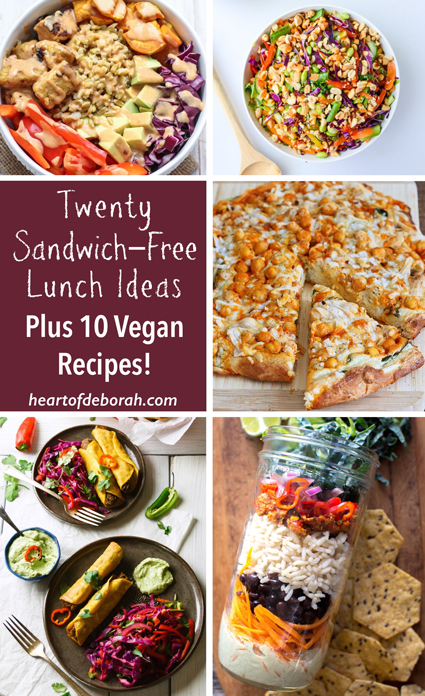 List of 20 sandwich free lunch ideas for kids and adults. 10 delicious vegan recipes included!Recipes to get you out of your comfort zone and help you with back to school lunch ideas.