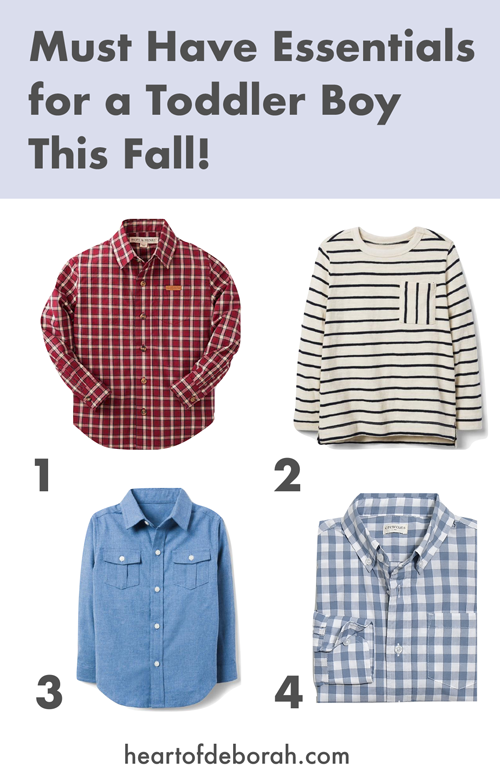 Adorable tops and button down shirts for your toddler boy. Fall fashion for kids.