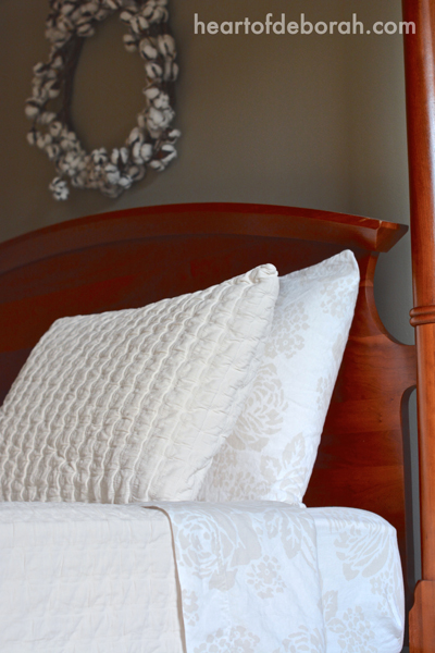 Farmhouse Bedding From Garnet Hill & Eileen Fisher. The washed linen sheets pair perfectly with the rippled organic cotton coverlet. The perfect romantic rustic combination for the master bedroom.