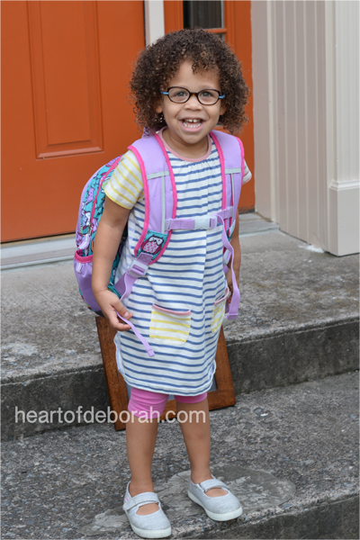 Our daughter's first day of preschool. Dress by @Boden, Backpack from @Garnethilll and Shoes from Cienta