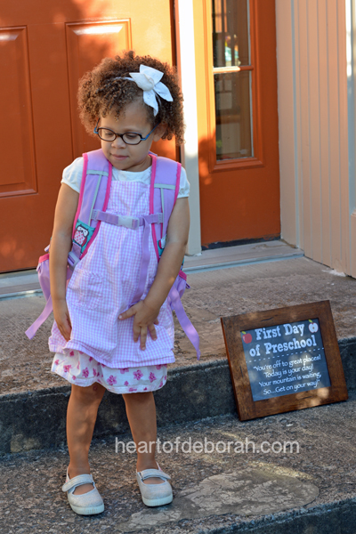 Our daughter's first day of preschool. Want a first day of preschool sign for your child? Download one here!