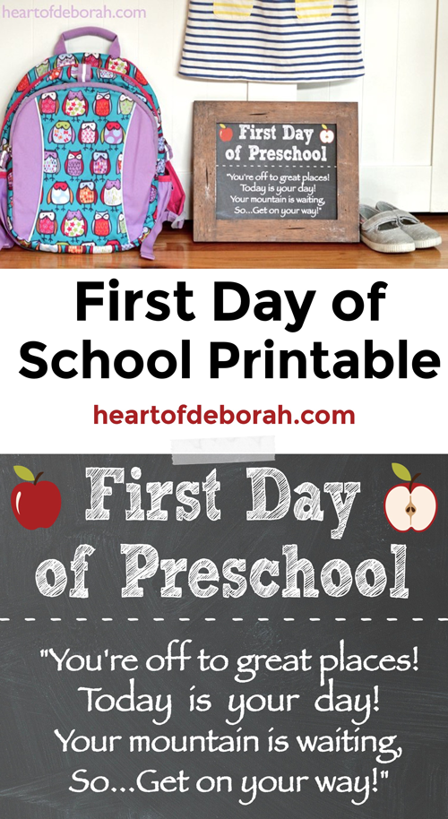Is your child starting preschool? Take a first day of school photo with this free printable first day of school sign!