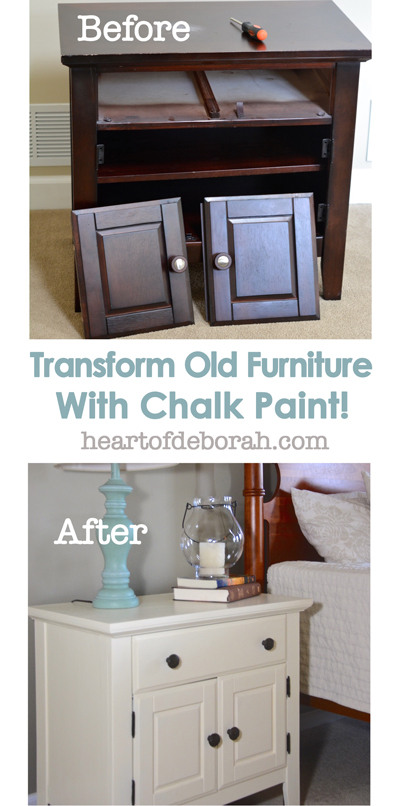 This is a crazy before and after! Transform any old furniture with chalk paint adding a new style without a lot of work! I love how this looks in the farmhouse bedroom.