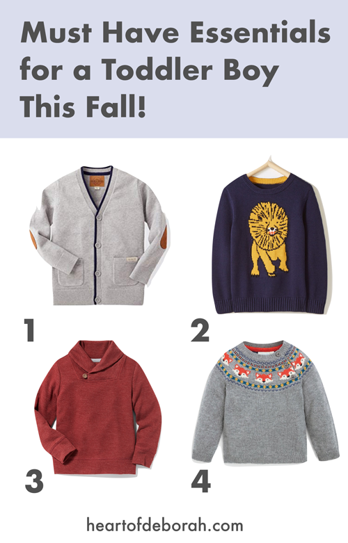 Adorable fall and winter sweaters for toddlers boys! How cute! Plus tips to save money on kid's fashion.