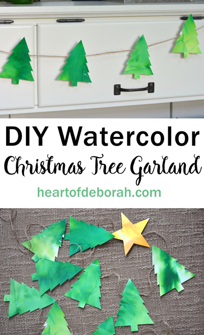 Homemade watercolor christmas tree garland craft for Garland christmas tree craft