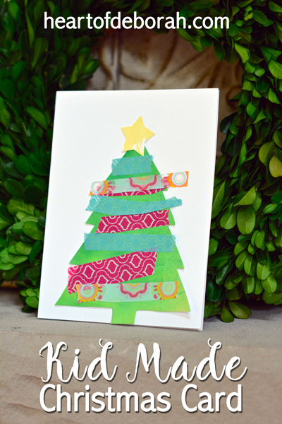 Kid made christmas card using watercolor washi tape for Make your own homemade christmas cards
