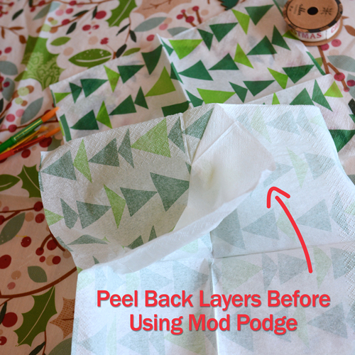 When decoupaging with napkins make sure you peel back the layers first!