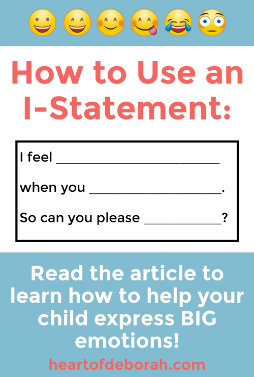 I-statements are a great social skill for kids to learn. Teach your children emotional intelligence with this easy guide to managing emotions! #socialskills #socialemotional #parenting