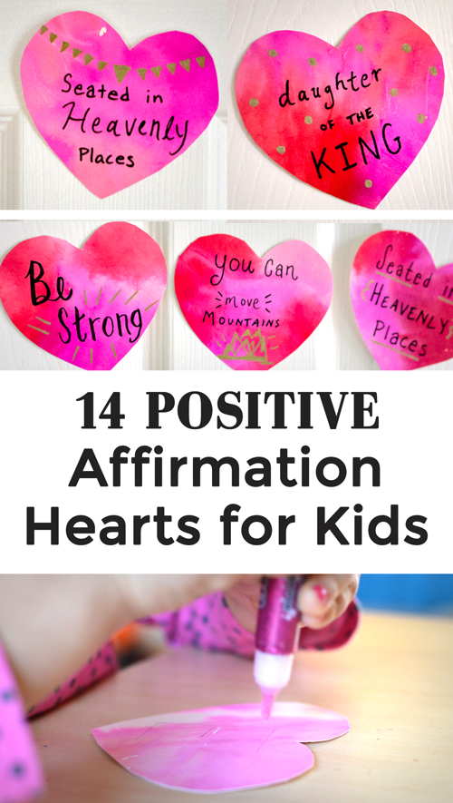 Shower your kids with love and positive affirmations this Valentine's Day. Craft watercolor hearts with positive messages or download pre-made sayings for your kids this Valentine's Day!