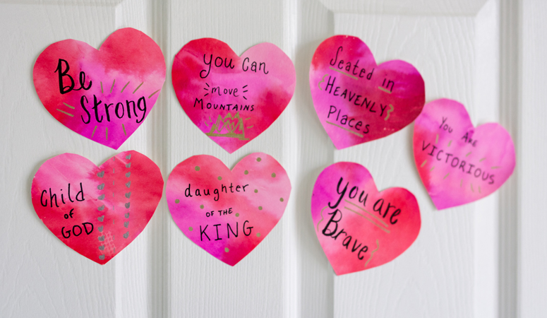Shower your kids with love and positive affirmations this Valentine's Day. Directions to create your own watercolor hearts with positive messages or an option to download pre-made sayings!