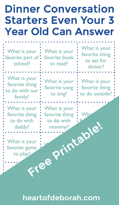 "Dinnertime is often chaotic. Kids are yelling ""I'm hungry!"" as we frantically try to make dinner and clean up. Slow down meal time and enjoy a fun family pizza night theme with these free printable conversation starters. Questions are easy enough for a toddler to answer."