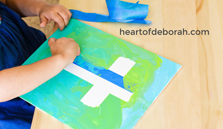 Looking for a fun and easy art project for your preschooler? Make this cross craft on canvas and you are left with a frameable piece of artwork. A great faith based Easter craft or activity all year round.