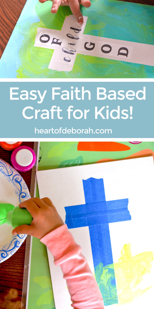 The perfect preschooler craft for this Easter! Kids will love to finger paint and make their own cross canvas art. Faith based art for kids! #faithbased #kidscraft