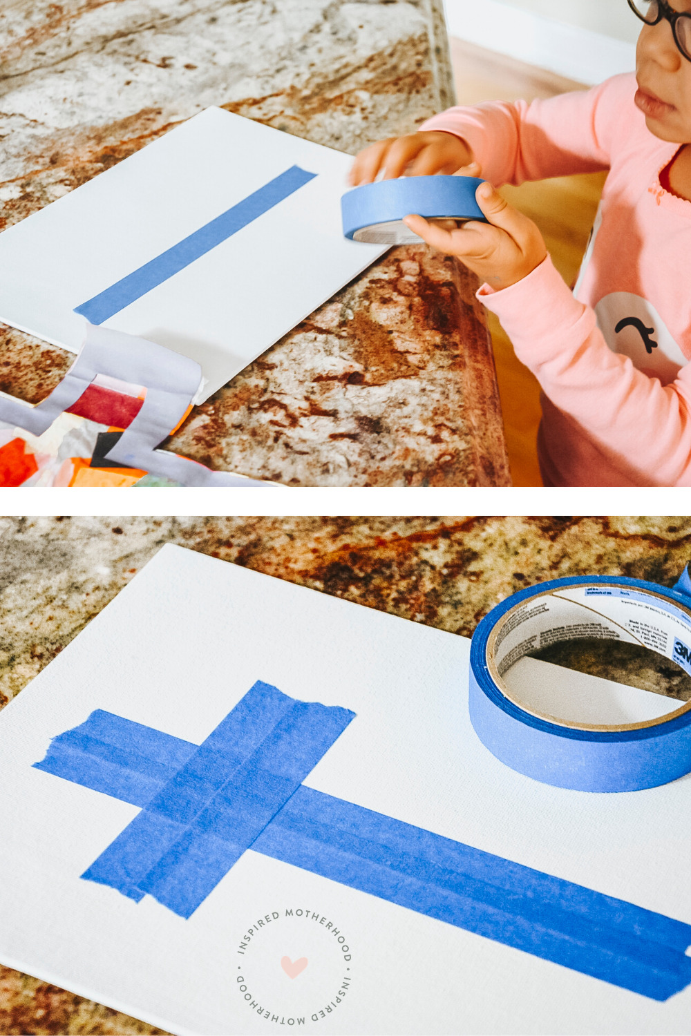 Use painter's tape to make an easy cross craft on canvas! Your kids will have a blast painting it. Even a toddler can do it!