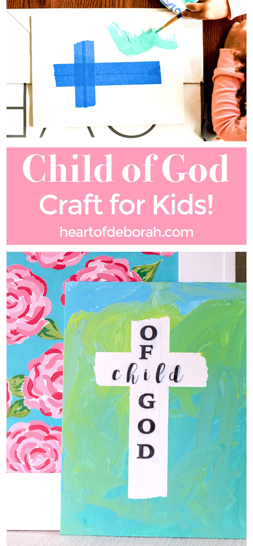Make this easy cross craft on canvas and you are left with a frameablepiece of artwork. A great faith based Easter craft or activity all year round. #kidsart #eastercraft