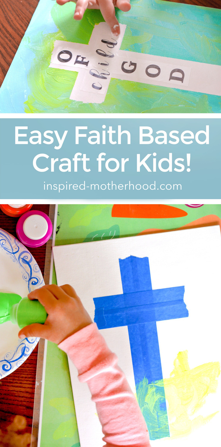 The perfect preschooler craft for this Easter! Kids will love to finger paint and make their own cross canvas art. Faith based art for kids!