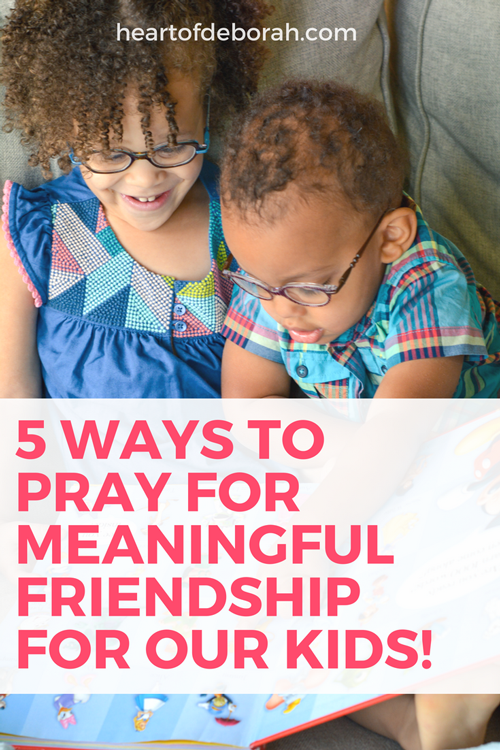 As a mother the one thing I know, is that prayer for our children makes a difference! That's why I believe it's so important tons aya prayer for true friendship for my kids. Here are 5 prayers to pray over your children's friendships. #siblinggoals #friendship #prayer #christianparenting