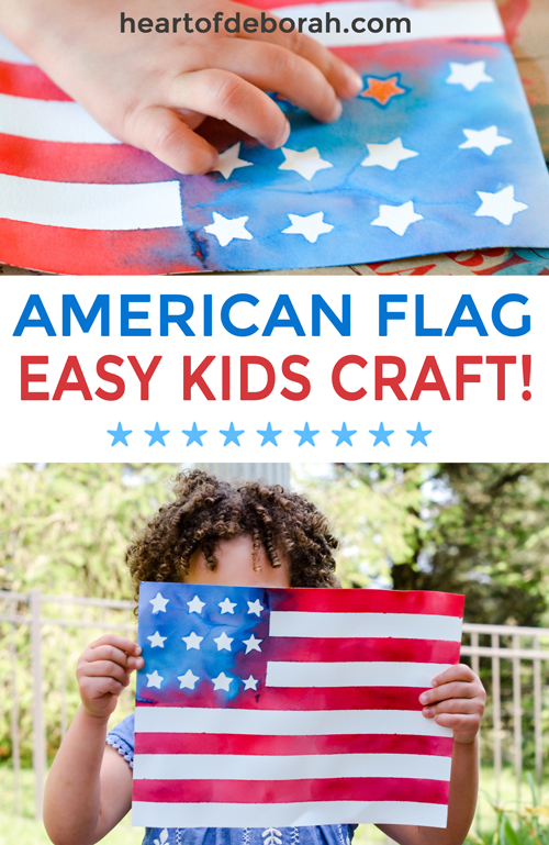 How adorable is thisAmerican flag kids craft! So easy to make and kids will love making this watercolor flag. Such a creative way to make a flag! Perfectfor memorial day, the 4th of July or to cheer on Team USA at the olympics. #kidscraft #patriotic #americanflag #kidsactivities