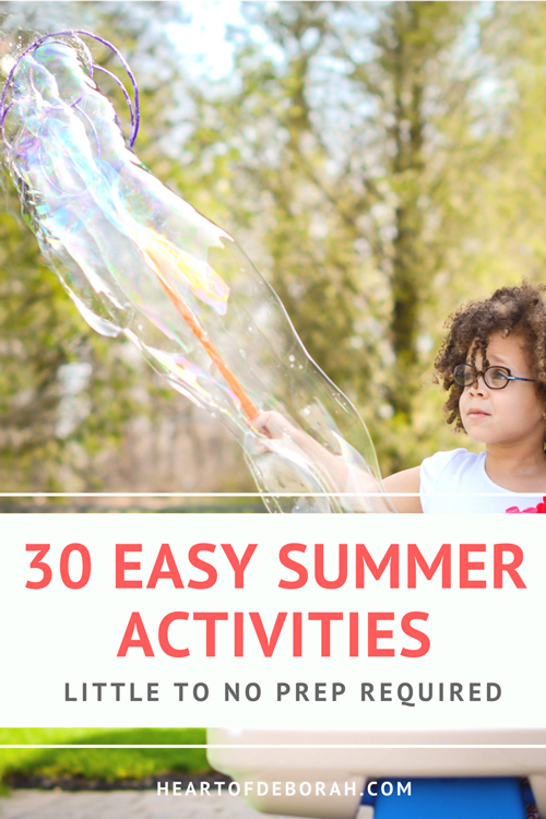 Every mom dreads hearing I'm bored!! So beat the boredom with this list of 30 easy summer activities for kids. Little to no preparation is required for these fun activities. Easy ideas for outdoor fun with your toddler and preschooler. #kidsactivities #summer #toddler #preschooler #parenting #summeractivities #play