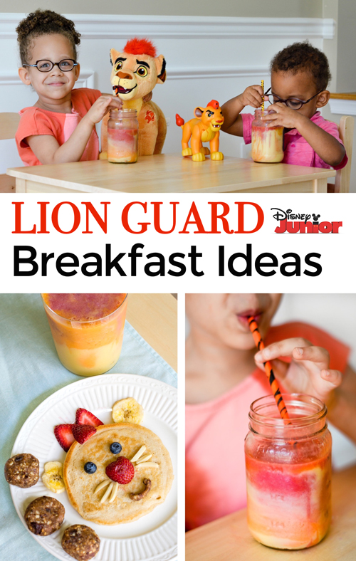Encourage healthy eating and have a blast with these fun breakfast ideas! Your kids will love eating their lion cub pancakes and pride rock energy balls while sipping their sunrise smoothie. Healthy snacks and a fun summer idea. AD