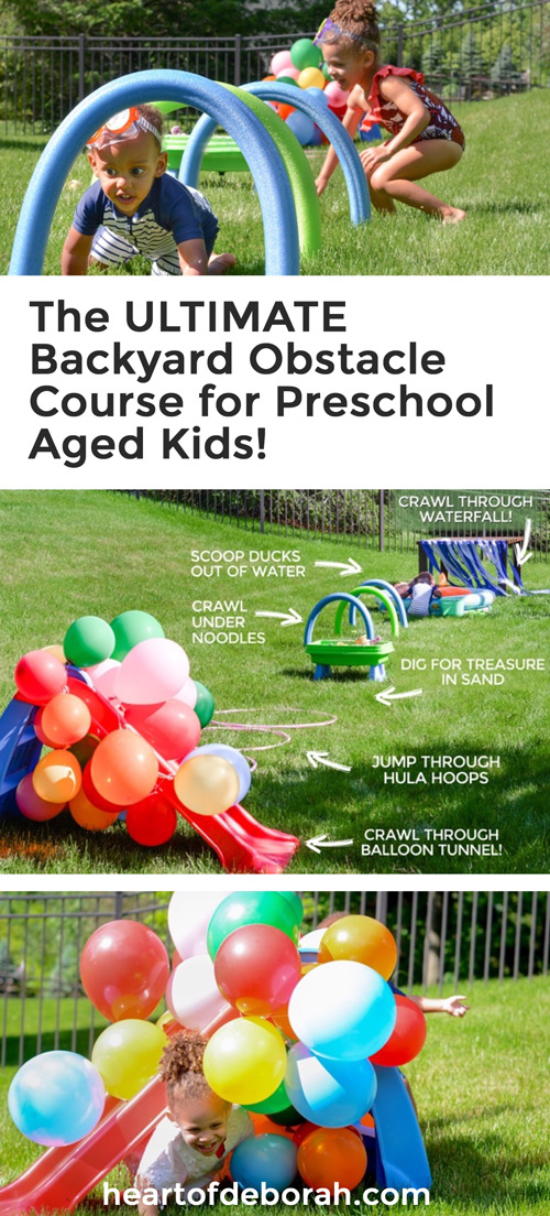 Here are 6 easy and fun obstacles for preschool age kids to enjoy. #backyardfun #disneyjunior #obstaclecourse #kidsactivities #summerfun