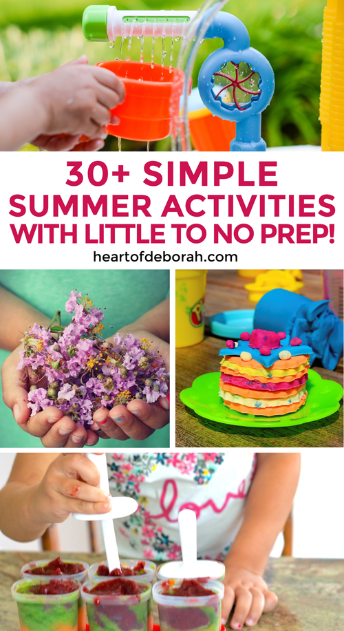 List of over 30 easy summer activities for kids. Little to no preparation is required for these fun activities. Easy ideas for outdoor fun with your toddler and preschooler. #kidsactivities #summer #summeractivities #play