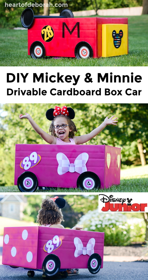 Your kids will love to drive around in their own Mickey Mouse Roadster Racer! Follow these directions to make your own cardboard box car racer inspired by Mickey and Minnie Mouse! (ad)